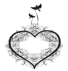 Antique-ornament-of-a-heart-with-birds vector