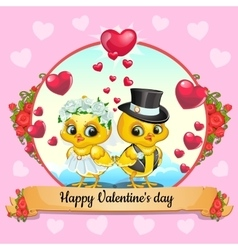Valentines day card with chickens bride and groom vector