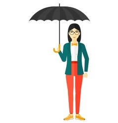 Business woman standing with umbrella vector