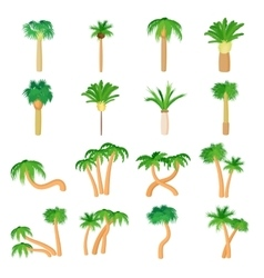 Palm icons set cartoon style vector