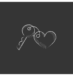 Trinket for keys as heart drawn in chalk icon vector