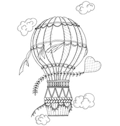Black and white air balloon and doodle heart vector image