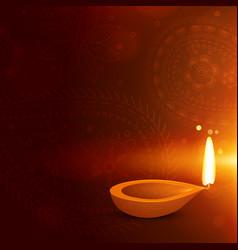 beautiful diwali background with diya diwali vector image