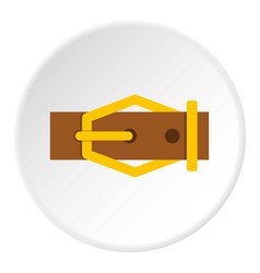 Brown leather belt icon circle vector