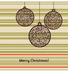 Christmas card with fir tree decorations vector