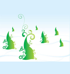 christmas tree forest winter vector image vector image