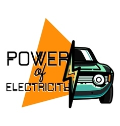 Color vintage electric car emblem vector