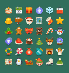 cute christmas icons vector image vector image