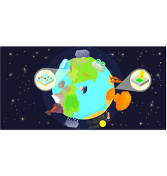 disaster globe horizontal banner cartoon style vector image