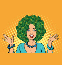 Eco woman hair green plants nature vector