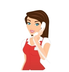 Female call centre operator - isolated vector image