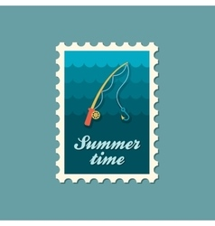 Fishing rod stamp summer vacation vector