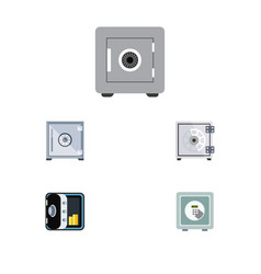 Flat icon safe set of banking safe security and vector