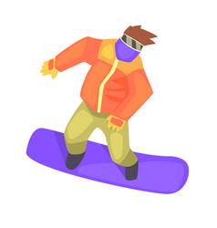 Guy on snowboard part of teenagers practicing vector