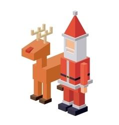 Isometric santa and deer design vector