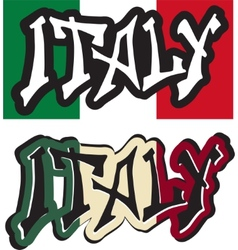 Italy word graffiti different style vector image vector image