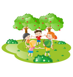 Kids holding hands in circle vector
