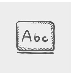 Letters abc in blackboard sketch icon vector