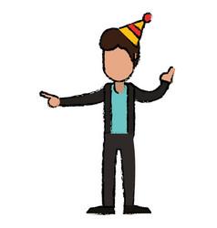 Male boy joy celebration vector
