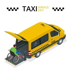 Minibus for physically disabled people taxi or vector