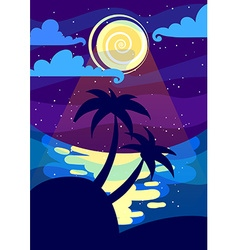 Night landscape with the moon and palms a4 vector