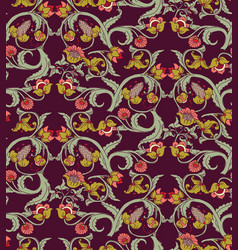 old slavic vintage ornament flowers dark seamless vector image