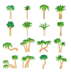 Palm icons set cartoon style vector image