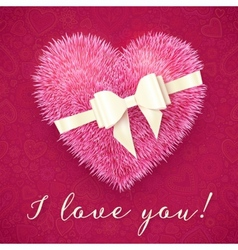 Pink fluffy heart with white bow greeting card vector image vector image