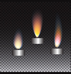 Realistic candle flame set on transparent vector