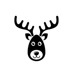 Reindeer face christmas icon vector