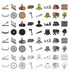 Sawmil and timber set icons in cartoon style big vector