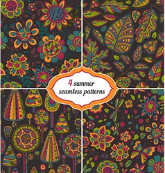 Set of summer backgrounds - Floral Seamless vector image