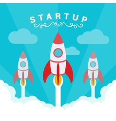Startup The rockets takes off vector image vector image