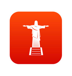 The christ the redeemer statue icon digital red vector