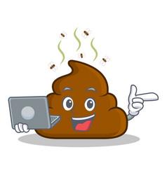 With laptop poop emoticon character cartoon vector