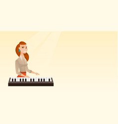 Woman playing the piano vector