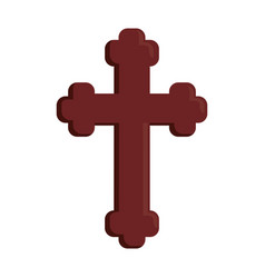 Wooden cross icon vector