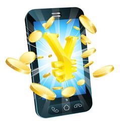 Yen money phone concept vector
