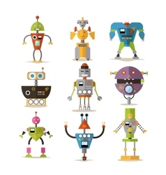 Set of robots isolated on white background vector