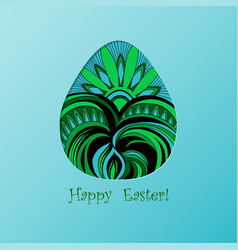 Card of easter with graphic color egg vector