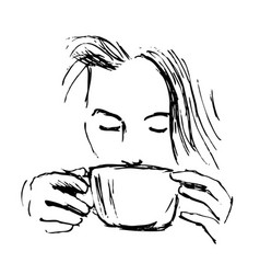 Hand-drawn sketch woman drinking coffee vector