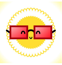 Glasses and sun on white background vector