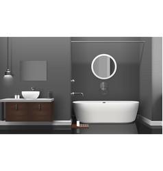 Modern realistic bathroom interior design vector