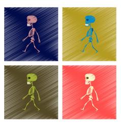 Assembly flat shading style icon skeleton vector