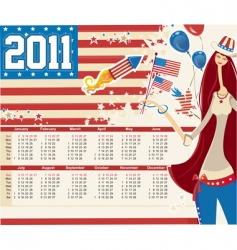 2011 american calendar vector image vector image
