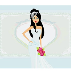Beautiful bride on an abstract background vector