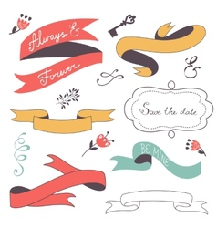 Beautiful collection of ribbons frames and vector image