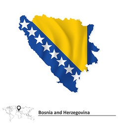 Map of bosnia and herzegovina with flag vector