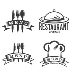 Restaurant and menu elements set vector