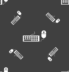 Computer keyboard and mouse icon seamless pattern vector